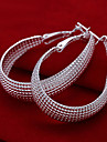 levande kvinnors nät silverplatta örhängen klassisk feminin stil