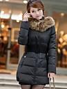 Palton ( Bumbac/Poliester/Blană Artificială ) Bodycon/Casual/Business/Plus Size - Lung - Manșon Lung - Gros