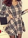 Slim mânecă lungă houndstooth rochie mini femei