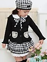 Girl's Grid (Coat+Skirt+Hat 3 Pieces) Clothing Sets