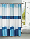 Blue Block Polyester Shower Curtain