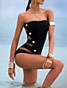 Women's Sexy Black One-piece Swimsuit Button Design