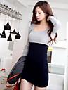 gât u rochie mini, de bumbac casual, negru femei