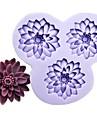 tre hål blommor fondant tårta choklad harts lera silikonform, l10.5m * w10cm * h1.8cm