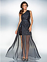Sheath / Column One Shoulder Floor Length Chiffon Sequined Prom Formal Evening Military Ball Dress with Sash / Ribbon Split Front Side
