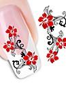 1 Vattenövergångsklistermärke 3D Nail Stickers Blomma Mode Bröllop Dagligen Hög kvalitet