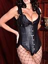 Women's 2pcs Black Leather Corset with Detachable Straps