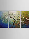 Hang-pictate pictură în ulei Pictat manual - Floral / Botanic pânză Trei Panouri