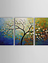 HANDMÅLAD Blommig/Botanisk Horisontell Panoramautsikt Duk Hang målad oljemålning Hem-dekoration Tre paneler