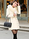 Women's European Fashion Square Sollar  Cotton Warm  Loose Long Coat