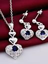 moda (design de inima) placat cu argint (include colier&cercel) set încrustat zircon bijuterii (1 seturi)
