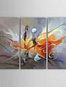 Peinture à l'huile Hang-peint Peint à la main - Abstrait Toile Trois Panneaux