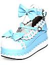 Încălțăminte Lolita dulce Prințesă Platformă Încălțăminte Nod Papion 7 CM Albastru Roz Pentru PU piele/Piele poliuretan
