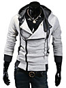 Lesen Men\'s Hoodie Fashion Contrast Color Oblique Zipper Casual Hoodie O