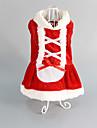 Pisici Câine Rochii Îmbrăcăminte Câini Rosu Bumbac Costume Pentru animale de companie Pentru femei Nuntă Crăciun