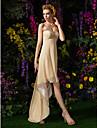 A-라인 스윗하트 비대칭 조젯 신부 들러리 드레스 와 비즈 / 크리스 크로스 / 뤼세 으로 LAN TING BRIDE®