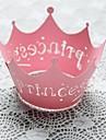 12pcs roz cazuri împachetatoare dantelă tăiat cupcake garnituri brioșă cu laser printesa de nunta copil de dus tort partid decoartion