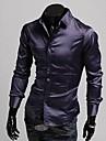 Men's Silk Bright Face Long Sleeve Shirt