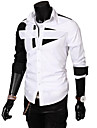 Lesen Men's Slim Personality Stitching Casual Long Sleeve Shirt O