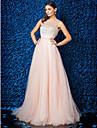 Linia -A Iluzii Lungime Podea Tulle Bal / Gală Elegantă Rochie cu Mărgele de TS Couture®