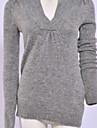 proiectare concis solid de culoare mânecă lungă pulover gri
