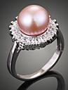 Pentru femei Inel de declarație - Perle, Imitație de Perle, Zirconiu Lux, Modă O Mărime Crem / Roz Închis Pentru Petrecere / Zirconiu Cubic / Perle Roz / Zirconiu Cubic / Aliaj