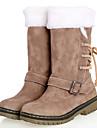 Damă Pantofi Imitație de Piele Primăvară Iarnă Toc Jos Cizme Medii Cu Funde Pentru Casual Camel Maro Bej