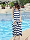 MiShow®Women's Hooded Collar Vintage Stripe Print Design Sleeveless Casual Loose Plus Size Homecoming Dresses