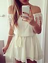 femei de pe umăr rochie patchwork sifon