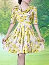 lifver galben tiparite 7 minute de manșon movilă de femei primi accepta talie rochie mare