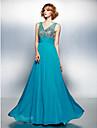 Linia -A Gât V Lungime Podea Șifon Bal Rochie cu Mărgele Detalii Cristal Ruching Paiete de TS Couture®