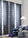 Stångficka Hyls-topp Hällor topp Dubbel veckad En panel Fönster Behandling Moderna, Tryck Sovrum Polyester Material gardiner draperier