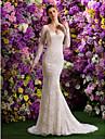 Trompetă / Sirenă În V Trenă Court Dantelă Made-To-Measure rochii de mireasa cu Mărgele / Dantelă de LAN TING BRIDE® / Iluzie / Vezi Prin