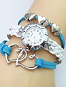 Pentru femei Quartz Ceas de Mână Ceas Brățară Ceas Casual Piele Bandă Heart Shape Boem Alb