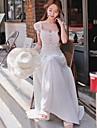 rochie albă solid femei, de epocă / Maxi rundă dantelă gât umăr cu maneci scurte