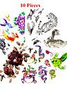 10 Ogiftig Mönster Vattentät Djurserier Blomserier Annat Tatueringsklistermärken