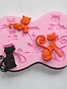 ustensiles de cuisson silicone moules beau chat de cuisson pour gâteau au chocolat gelée (couleurs aléatoires)