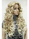 Парики из искусственных волос Кудрявый Стиль Без шапочки-основы Парик Блондинка Искусственные волосы 26 дюймовый Жен. Волосы с окрашиванием омбре / Боковая часть Блондинка Парик Длинные Черный парик