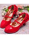 Fete Pantofi Flați Imitație de Piele Primăvară Vară Casual Rochie Funde Toc Gros Negru Roșu 10 - 12.5 cm