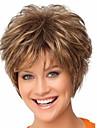 Perruque Synthetique Droit / Boucle Coupe Lutin / Avec Frange Cheveux Synthetiques Marron Perruque Femme Court Sans bonnet Marron