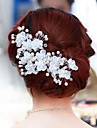 Pearl Crystal Fabric Alloy Tiaras Flowers 1pc 1 Wedding Party / Evening Headpiece