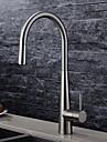 Nutida Utdragbar / Pull-down Horisontell montering Utdragbar dusch Keramisk Ventil Ett hål Singel Handtag Ett hål Borstad, Kökskran
