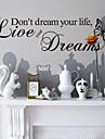 inte drömma ditt liv heminredning väggdekaler zooyoo8142 dekorativa flyttbar vinyl väggdekorationer
