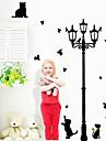 pisici minunat joc cu fluture în jurul felinar de perete Decal autocolant perete amovibil zooyoo030l pvc