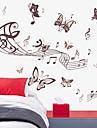 autocolante de perete de perete stil decalcomanii autocolante de perete muzică fluture pvc