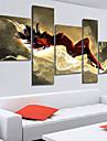 Hang målad oljemålning HANDMÅLAD - Abstrakt Duk Fem paneler