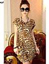 Femei Rotund Tricou Casul/Zilnic Simplu(ă),Leopard Manșon scurt Vară Subțire Mătase