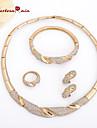 Seturi de bijuterii Vintage Petrecere Lanț Ștras Placat Auriu Diamante Artificiale Aliaj Brățară Colier Σκουλαρίκια Inel