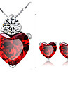Pentru femei Cristal Set bijuterii Cristal Inimă femei Include Rosu Pentru Petrecere Zilnic Casual / Σκουλαρίκια / Coliere