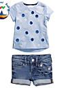 Fata lui Fata lui Blugi/Set Îmbrăcăminte Vară Amestec Bumbac Manșon Scurt